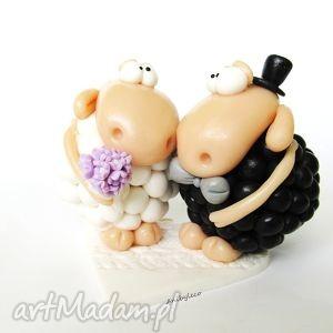 ślub figurka na tort ślubny zakochane owieczki, figurka, ślub, wesele, modelina, fimo