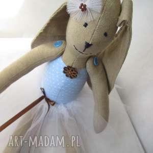 lalki baletnica niebieski groszek, balerina, baletnica, tutu, zając, komunia, królik