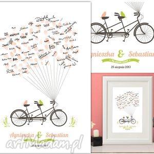 wiosenny tandem wpisów gości weselnych 50x70 cm, ślub, wesele, księga, gości