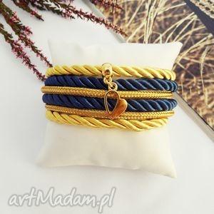 święta prezenty, bransoletki navy blue and gold, bransoletka, handmade, serce, heart