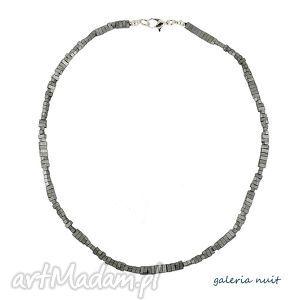 naszyjniki minimal - hematyt matowy, hematyt, prostokąt, srebrny, srebrzysty