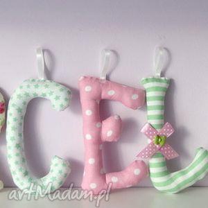 pokoik dziecka literki szyte imię marcelina ozdoba pokoju, literki, litery