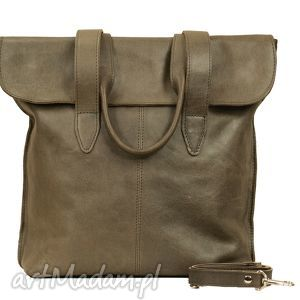 Prezent oliwkowa torba z klapką ze skóry, torba, torebka, handmade, prezent, wygodna