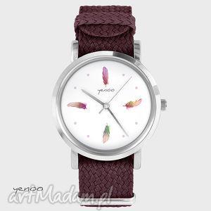 zegarki zegarek, bransoletka - kolorowe piórka bordowy