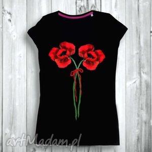 bluzki piękna bluzka ręcznie malowana- artystyczne maki z wstążeczką, hand