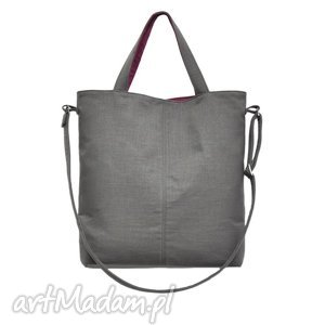 16-0026 szara duża torebka damska z paskiem na ramię jay, skórzane, torebki, damskie