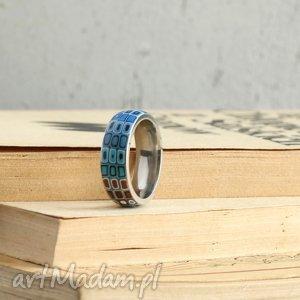 Obrączka w turkusie, obrączka, pierścionek, geometryczne, brąz, turkus, stal