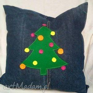 poduszki jeansowa poduszka z choinką, poduszka, dekoracyjna, świąteczna, choinka