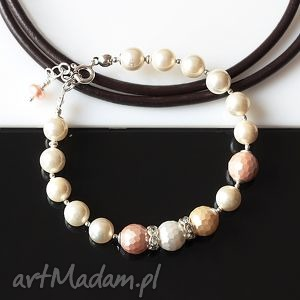 perły seashell z muszlą bransoletka, perły, seashell, muszla, srebro, ślub biżuteria