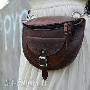 SKÓRZANA NERKA odcienie brązu, waist, leather, skóra, zamsz, suede