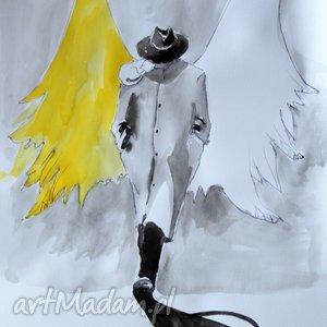 Grafika wykonana akwarelami i piórkiem Anioł w kapeluszu , rysunek, grafika, anioł