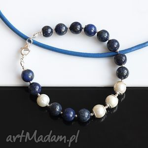 lapis lazuli z perłą - bransoletka, lapis, lazuli, perły, seashell, srebro