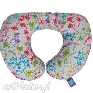 poduszka podróżna, wzór rajski ogród, fioletowa, podróż, poduszka, rogal, minky