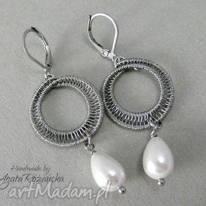 Kolczyki perły Seashell, wire wrapping, stal chirurgiczna, kolczyki, perły, okrągłe