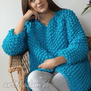 oryginalny prezent, mondu blue chunky, sweter, dziergany, gruby, druty