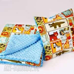 zestaw przedszkolaka safari niebieski, zestaw, kocyk, poduszka, safari, zwierzątka