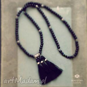 naszyjnik boho czarno srebrny - boho, elegancja, klasyka, korale, szkło, chwost