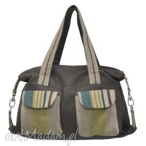 09-0009 brązowa torba sportowa torebka fitness tit, modne, markowe, torebki