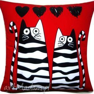poduszka dla zakochanych, walentynki, koty, dom