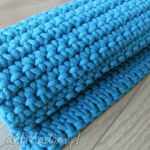 Turkusowy dywan ze sznurka 60 x 75 cm, dywan, chodnik, szydełko, sznurek, bawełna