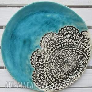 oryginalne prezenty, ceramika ana turkusowa z koronką, patera, ceramiczna, turkus