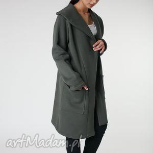 płaszcze płaszcz z ciepłym kołnierzem khaki s-m 36 38, płaszcz, khaki, jesień, długi