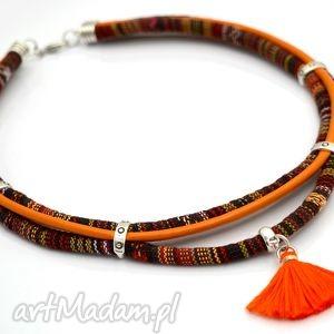 naszyjnik boho mayas z chwostem - naszyjnik, boho, etniczny, masajka, chwost