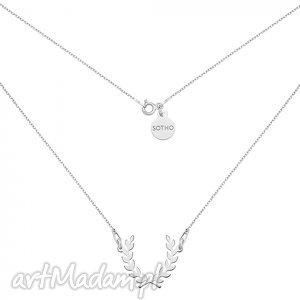 naszyjniki srebrny naszyjnik z liściem laurowym, modne, naszyjni, srebro, zawieszka
