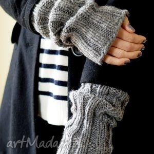 szare rękawki - rękawiczki, rękawki, płaszcz, mitenki, dziergane