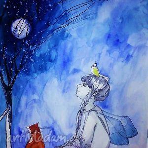 grafika wykonana akwarelami i piórkiem z papugą na głowie, grafika, rysunek