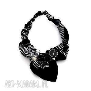 blacks naszyjnik handmade - naszyjnik, handmade, czarny, czarnobiały, paski, kolia