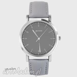 zegarek, bransoletka - simple elegance szary, skórzany