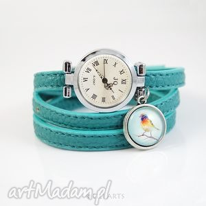 zegarki bransoletka, zegarek - kolorowy ptak turkusowy, morski, zegarek, ptaszek