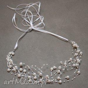 ozdoby do włosów perełkowo, opaska, perły, wianek, komunia, ślub