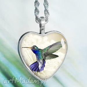 piękny unikatowy naszyjnik z kolibrem w szkle - serce, ptaszek, ptak, egzotyczny