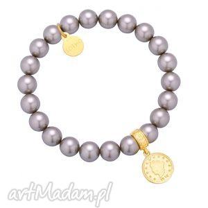 wrzosowa bransoletka perły swarovski crystal ze złotą monetą, bransoletka