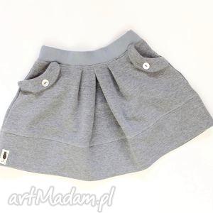 SPÓDNICZKA medium grey, spódnica, dzianina, zakładki, kieszenie, handmade, melanż