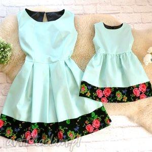 sukienki góralska sukienka dla mamy i córki folk cleo mięta, sukienka, mama, córka