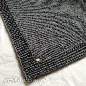 Grafitowy dywan / chodnik ze sznurka bawełnianego, handmade, dywan,