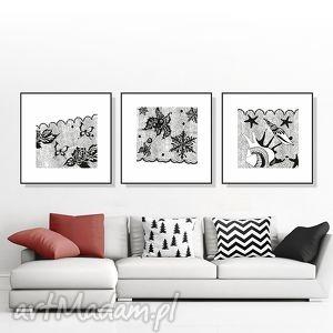 tryptyk z koronki 30x30 cm , grafika, tryptyk, obraz, plakat, czarnobiały, kwadrat