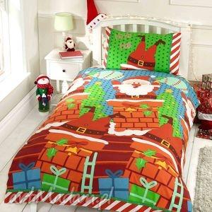 pościele pościel świąteczna - mikołaj w kominie 135x200cm , mikołaj, śmieszna