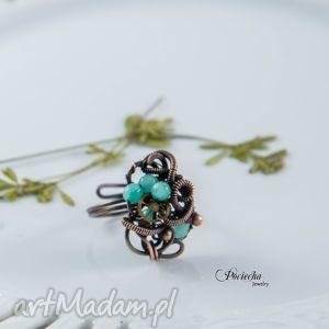 mary - pierścionek steampunkowy z jadeitem, pierścionek, miedź, steampunk, retro