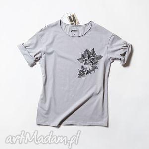 leaves szara koszulka oversize, tshirt, nadruk, unisex, luzna