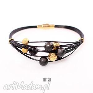 mitsu glamour, wieczorowa, czarna, złota, mieniąca, elegancka biżuteria