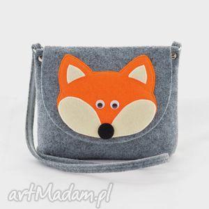 dla dziecka torebka dziewczynki- rudy lisek na szarym filcu, lis, lisek