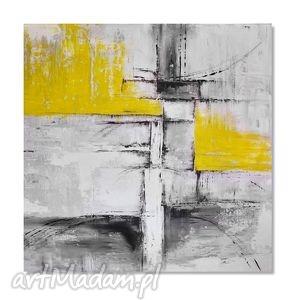 Abstrakcja popiel i żółć, nowoczesny obraz ręcznie malowany, obraz, ręcznie, malowany