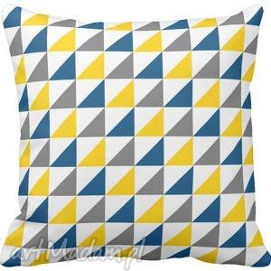 Poduszka ozdobna trójkąty żółte niebieskie szare 6584 - geometryczna