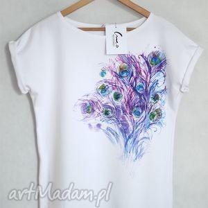 koszulki pawie pióra koszulka bawełniana biała s m, koszulka, tshirt, bawełna, nadruk