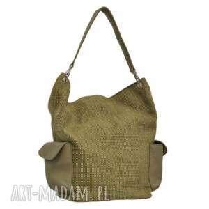 na ramię 17-0013 zielona torba damska worek torebka studia stork, makowe, modne