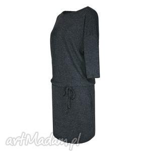 sukienki sukienka legato antracite, sukienka, jesień, zima, wiązana, antracyt